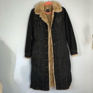 Awesome preowned LUCKY long fleece & denim coat